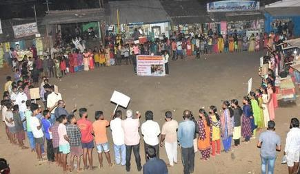 Tribals from Kothapalle mandal taking part in a peace rally at G.K. Veedhi mandal in Visakhapatnam Agency on Thursday.