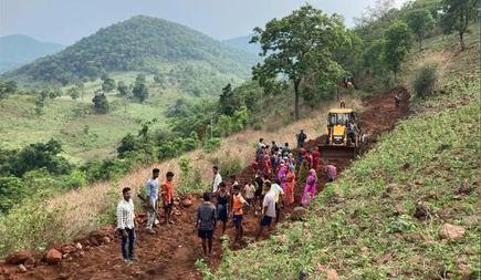 The police, with the help of tribal people and the ITDA, laying a road in an interior village in Visakha Agency.