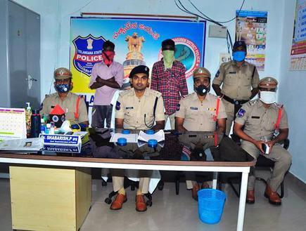 Khammam, Telangana, 25/07/2020: Manugu Police arrested by Maoist sympathizers at Manugu of Bhadradri Kothagudem district during the Maoists bandh. Photo: Special Arrangements/ The Hindu