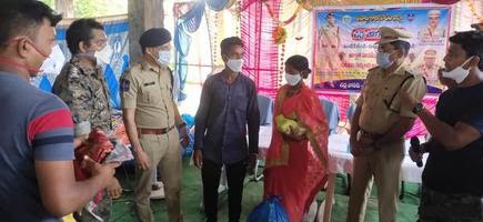 SP Sunil Dutt interacting with family members of some underground Maoist cadres in Charla town recently.