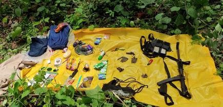 Weapons and ammunition recovered at the site of an exchange of fire between Maoists and police in Andhra Pradesh's Koyyuru mandal on June 16, 2021.