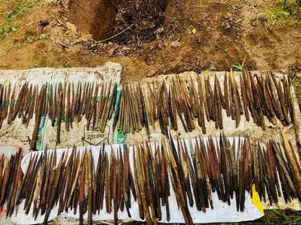 Small arrows placed in the booby traps that were recovered by the police on the Andhra-Chhattisgarh border on Friday.