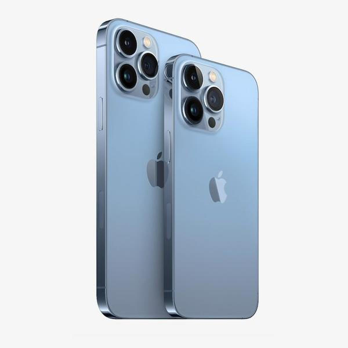 The back of the iPhone 13 Pro and Pro Max in Sierra Blue