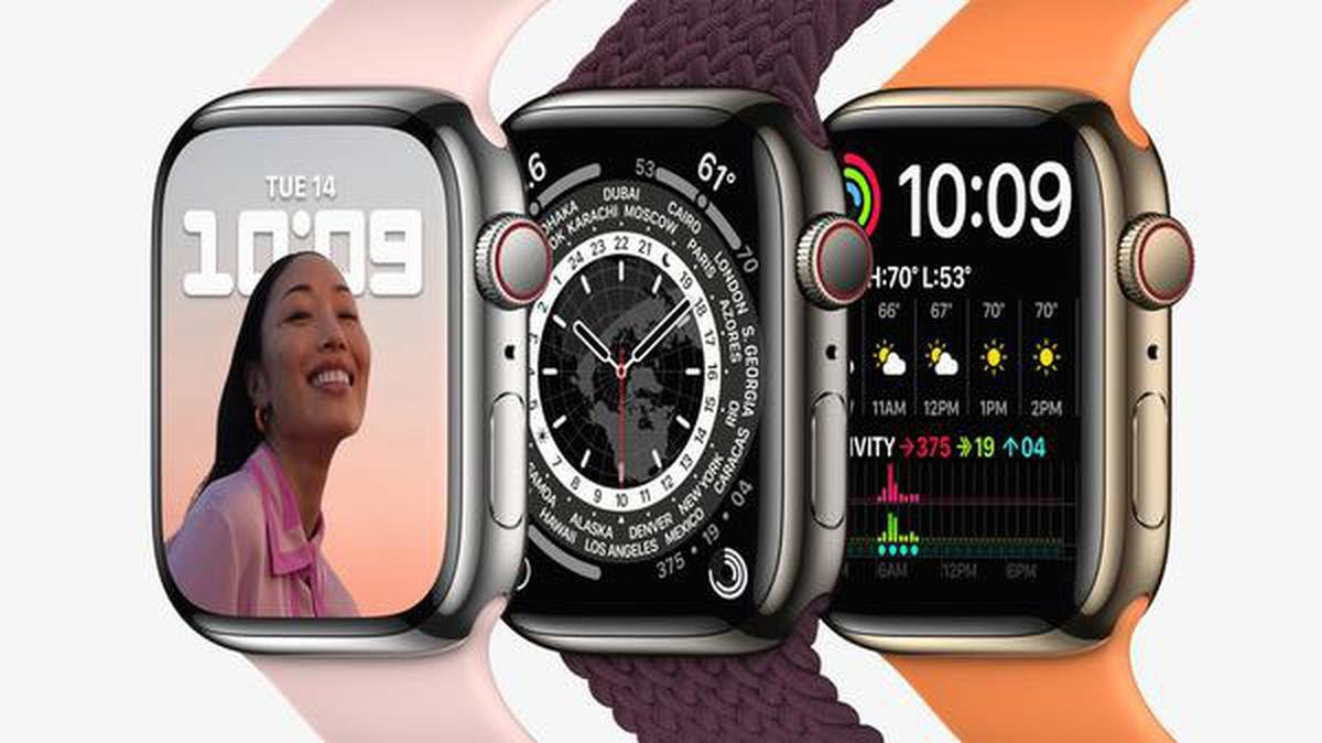 Apple Watch Series 7 in silver, graphite, and gold stainless steel.